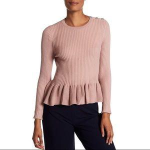 Rebecca Taylor | Rib Peplum Shirt Sweater